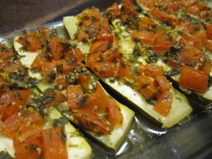 Winter Baked Zucchini w/ Herbed Tomatoes