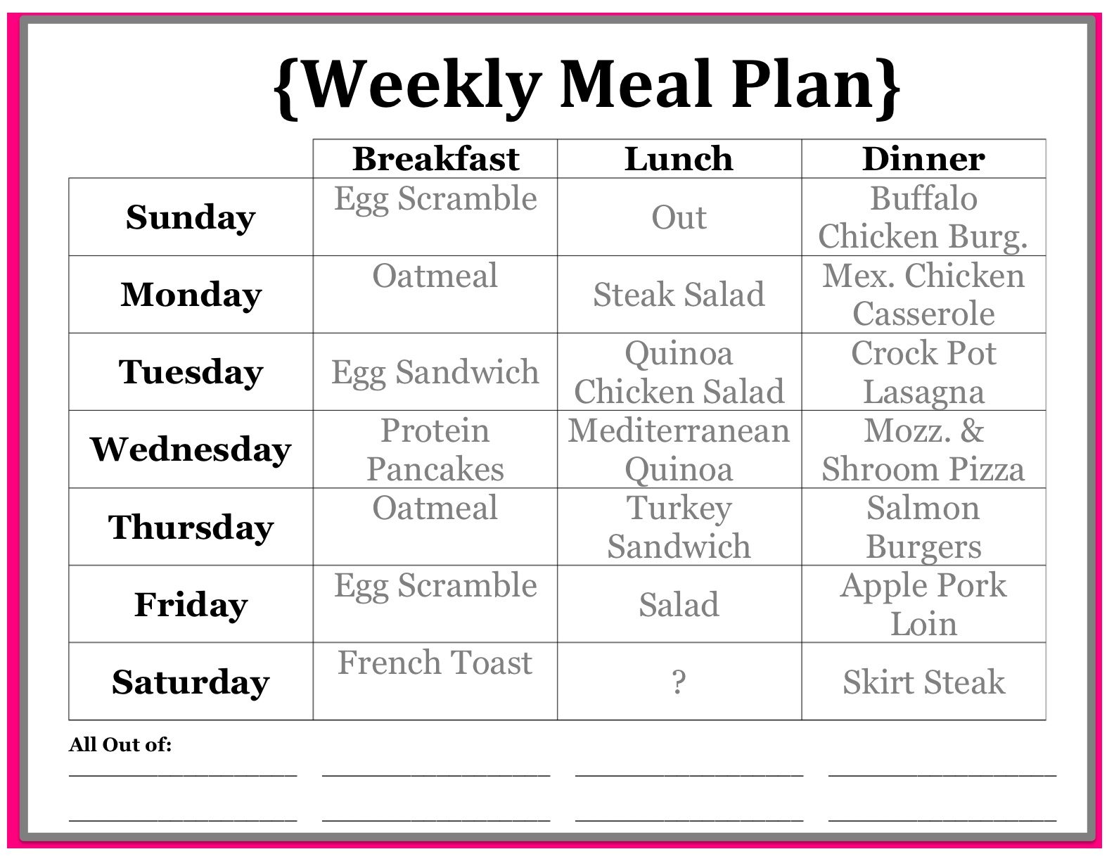 diet menu for monday through sunday
